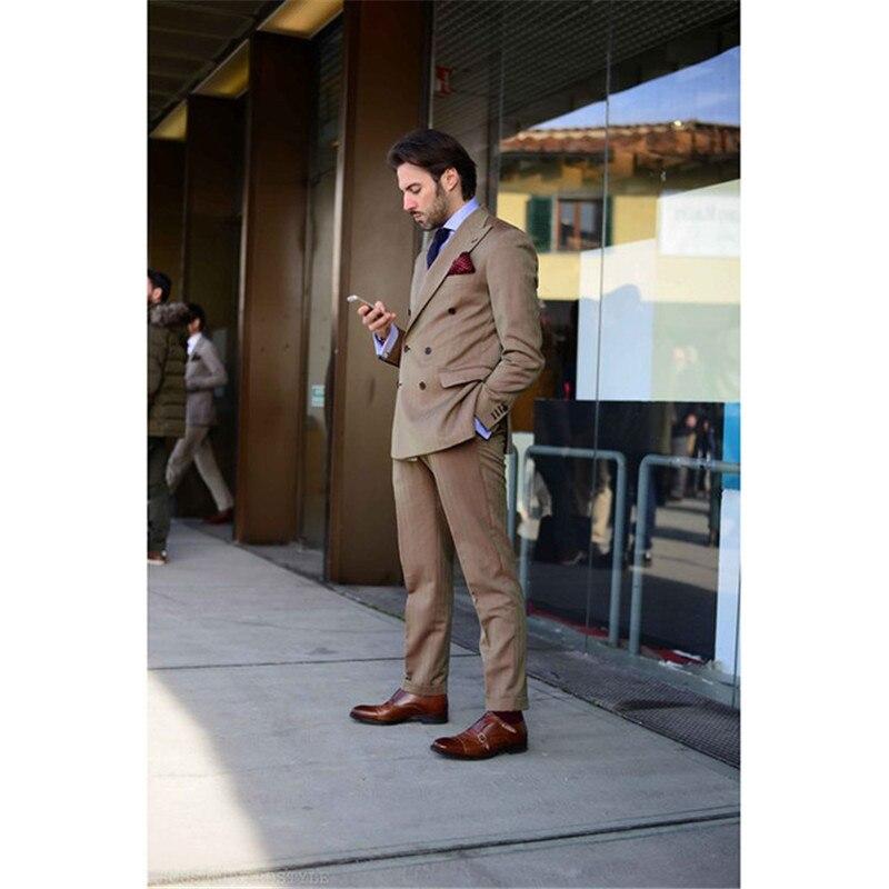 As Costume Fit Marié Manteau Image Pièces The Designs Pantalon Pour Brun Blazer Terno Masculino 2017 Hommes custom 2 Dernière Costumes Croisé Slim Made Smoking qYH58