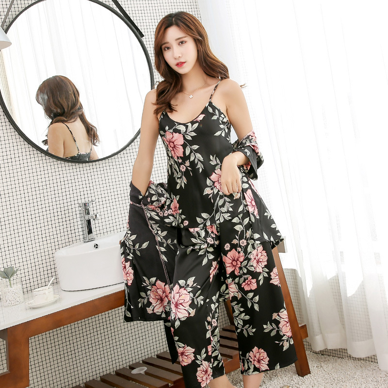 3 Pieces Home Suit 2019 Summer Flower Print Pijama Women's Pajamas Satin Sleepwear Pyjama Femme Sexy Sleep & Lounge With Pants