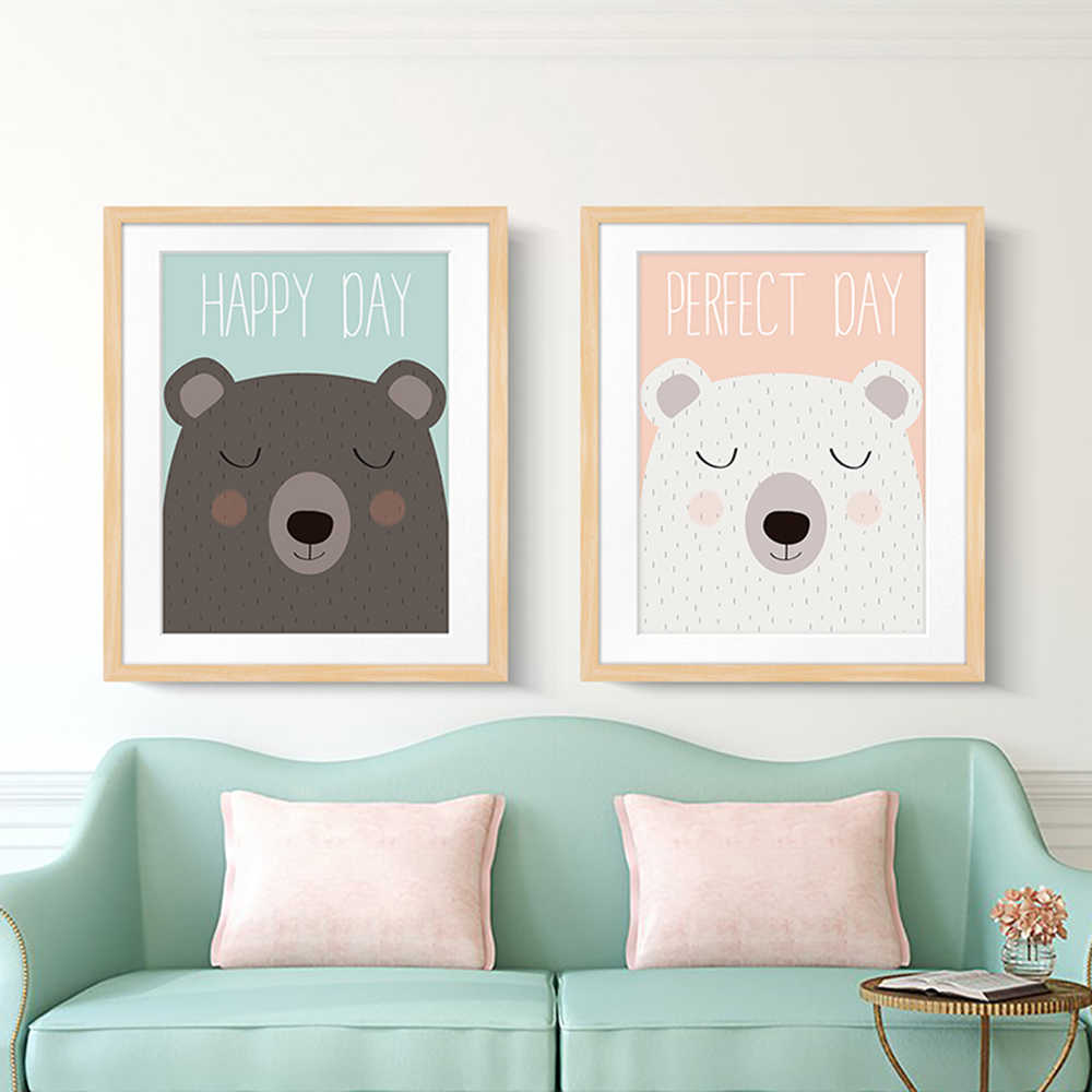 Kawaii Cartoon Bear A4 Canvas Art Painting Print Poster Picture Wall Baby Child Room Bedside Home Decoration Mural No Frame