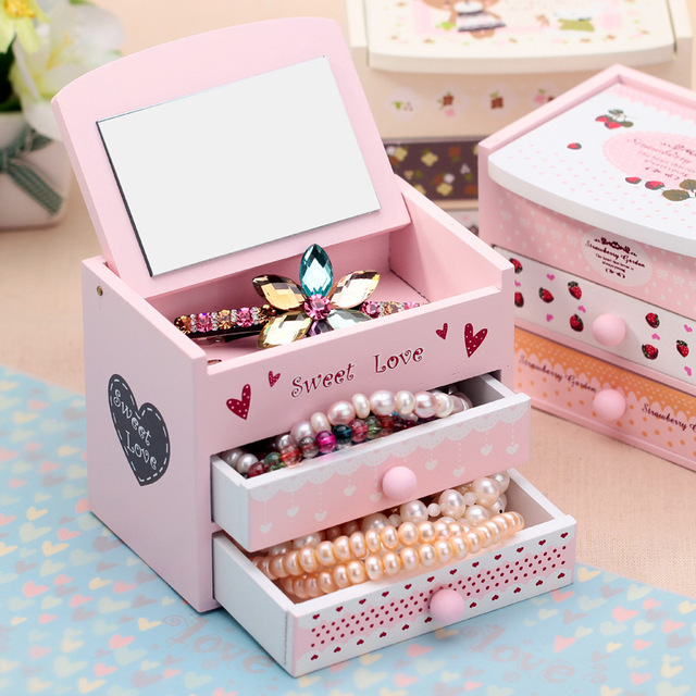 Creative Cartoon Animal Wooden Jewelry Storage Drawer Girl Desktop Necklace Earring Jewelry With Mirror Storage Box Fashion Gift