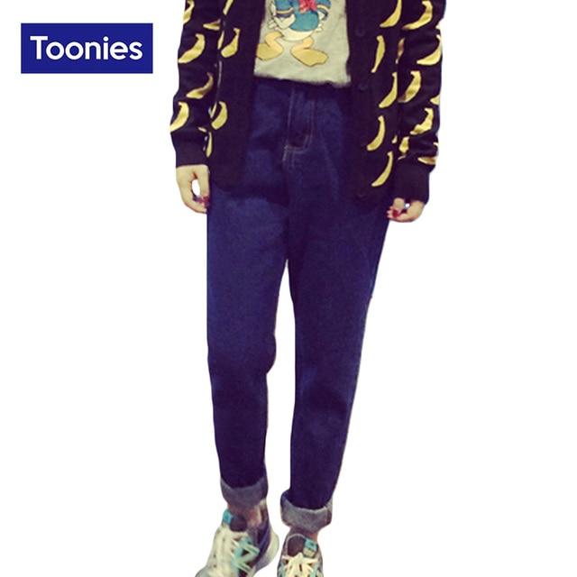 Korean New Blue Denim Harem Pants Women Natural Waist Full Length 2017 Slim Thin All-match Casual Autumn Jean Trousers S-XL Size