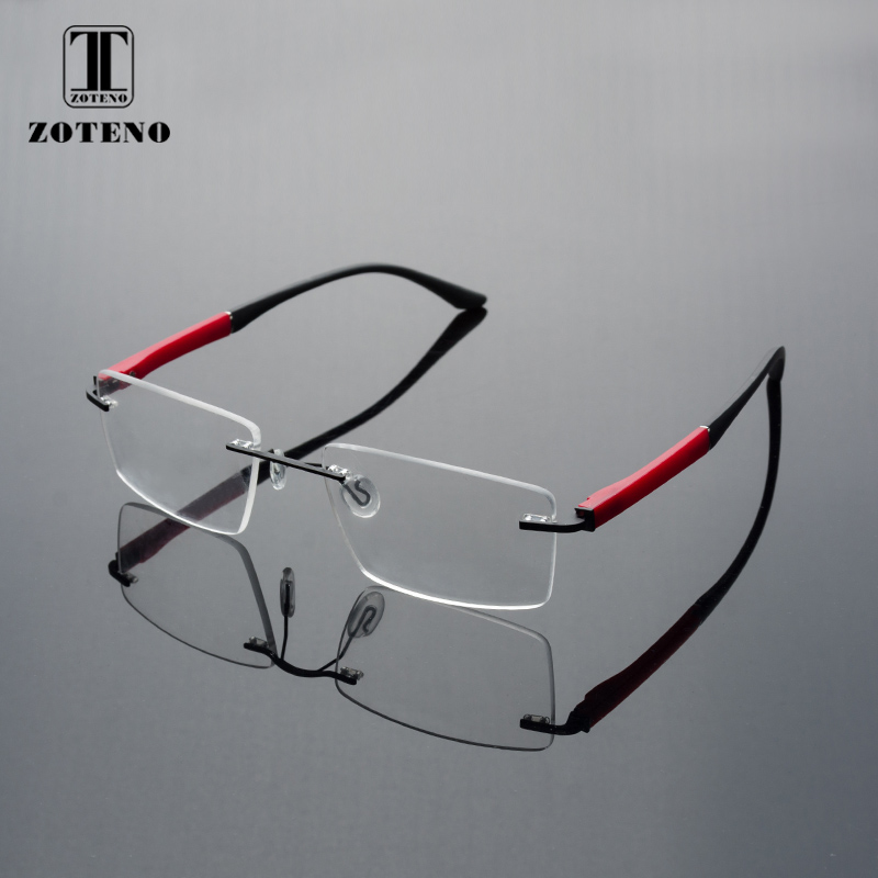 Rimless Men Eyeglasses Frame Fashion Brand Square Designer Myopia font b Computer b font Clear Optical