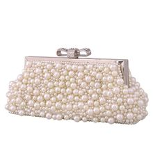 Bamboo Charm New Pearl Beading Womens Evening Party Clutch Crystal Bownot Hasp Buckle Handbag Fashion Shoulder Bag Crossbody