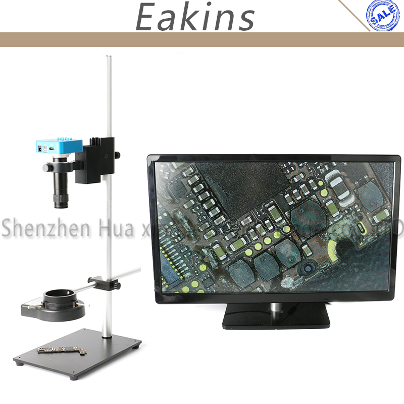 High Working Distance Stand Holder PCB Phone Repair LED Light 100X Zoom 1080P 16MP HDMI USB Industrial Video Microscope Camera цена
