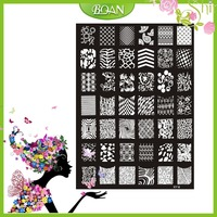10PCs New Design BQAN Stainless Steel Changeable Lines/Flower Series Images Nail Plate Stamping XY16