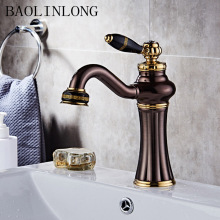 BAOLINLONG Antique Brass Bathroom Faucet Deck Mount Vanity Vessel Sinks Mixer Basin Tap