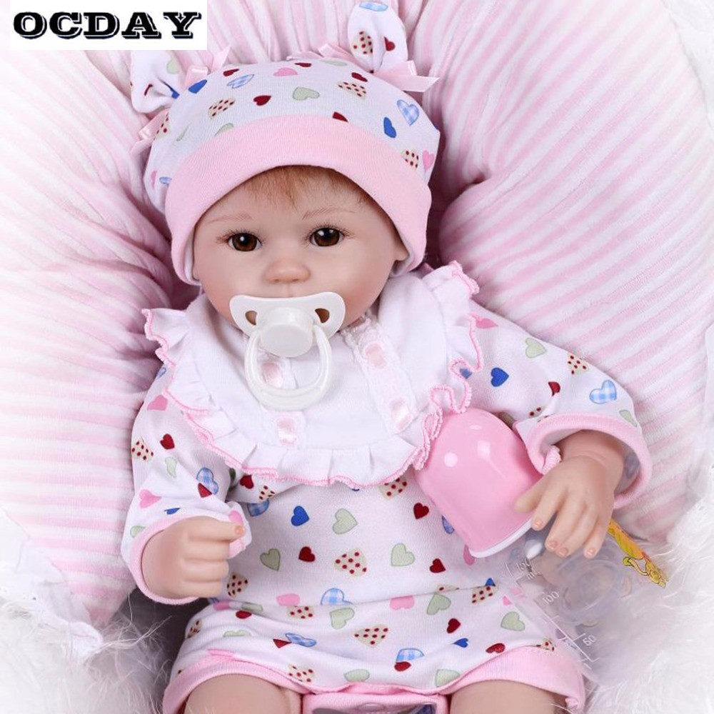 48CM Kawaii Kids Baby Reborn Doll Soft Silicone Lifelike Newborn Dolls Reborn Girl Best Xmas New Year's Toys Gift For Children kawaii baby dolls