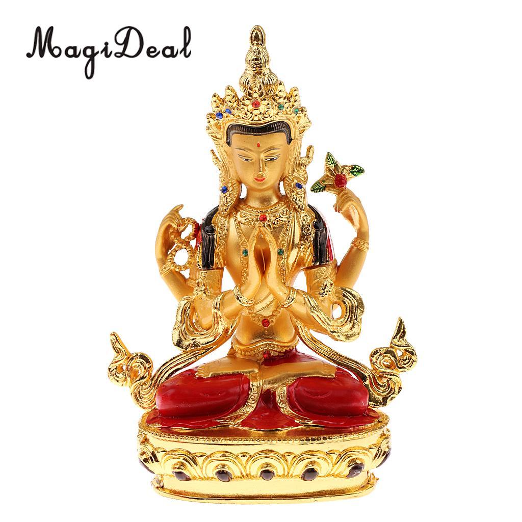 Buddhist Home Decor: Avalokitesvara Buddha Statue Tibetan Small Gilded Statues