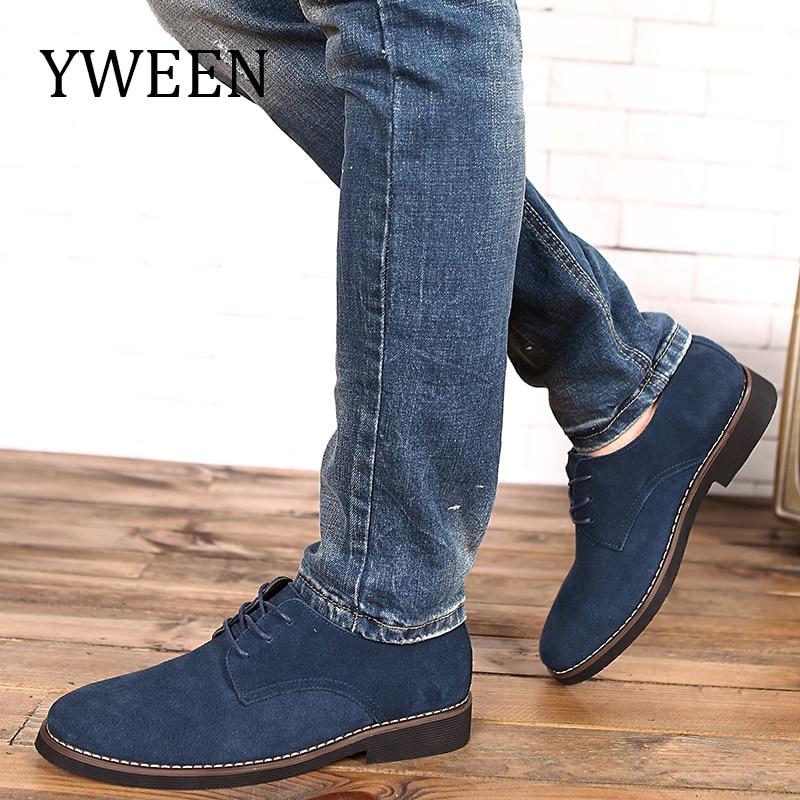 YWEEN Märke Faux Suede Läder Mäns Casual Shoes Män Oxfords Vår - Herrskor