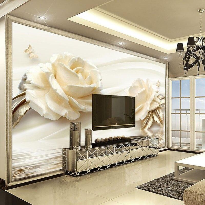 Custom 3D Photo Wallpaper Flower Champagne Rose Modern Romantic Living Room TV Background Mural Non-woven Wallpaper Home Decor