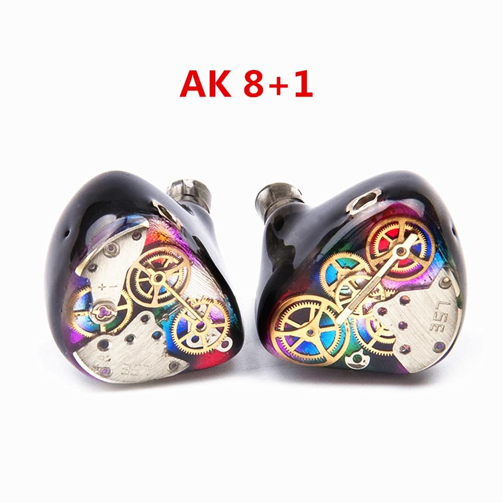 New AK 8BA+1DD Custom Made In Ear Earphone Hybrid Units DIY HiFi Around Ear Monitoring Earphones With MMCX Connector