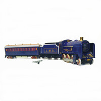 [Funny] Adult Collection Retro Wind up toy Metal Tin moving Vintage Rail train model Mechanical Clockwork toy figures kids gift