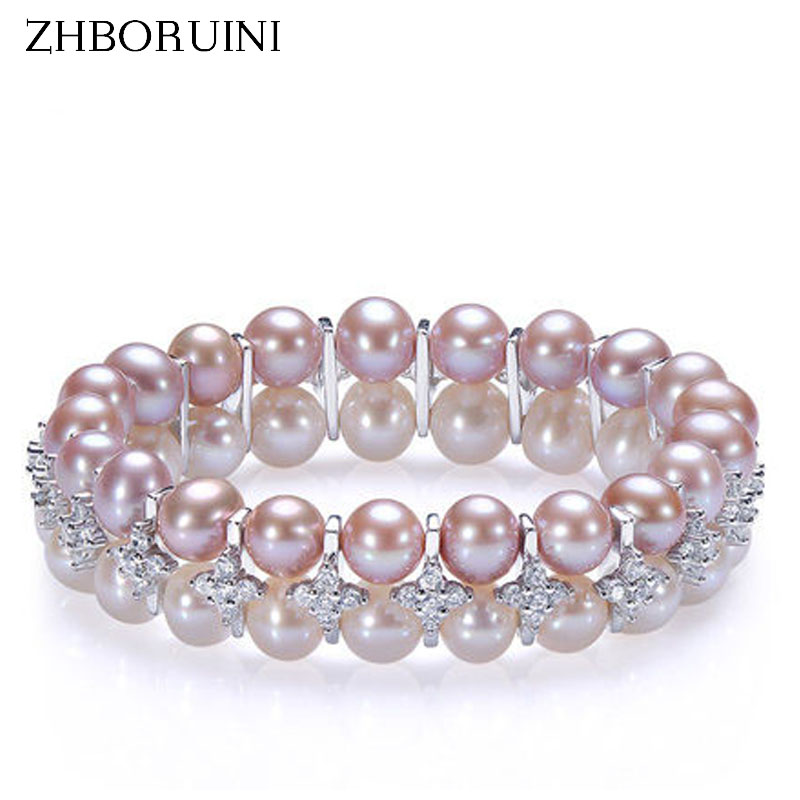 ZHBORUINI 2017 Charm Bracelet Pearl Jewelry Natural Freshwater Pearl Double Row Bracelets Sterling Silver Jewelry For Women Gift sweet rhinestone and faux pearl embellished floral double layered bracelet for women
