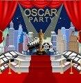 Пользовательские Оскары день рождения город skyline лестница красный ковер шторы Голливуд фото фон компьютерный принт Вечеринка фон