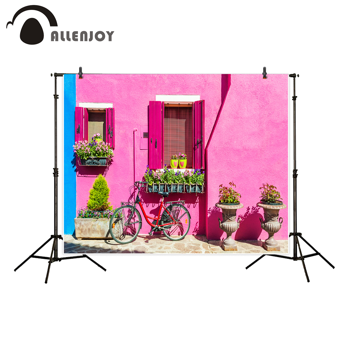 Allenjoy photography backdrop pink wall colorful houses plants ...
