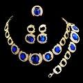 Африканские Бусы Ювелирные Наборы Для Женщин Позолоченные Big Blue Gem Коренастый Choker Ожерелье Серьги Свадебные Аксессуары