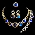 African Beads Jewelry Sets For Women  Gold Plated Blue Big Gem Chunky Choker Necklace Earrings Wedding Accessories