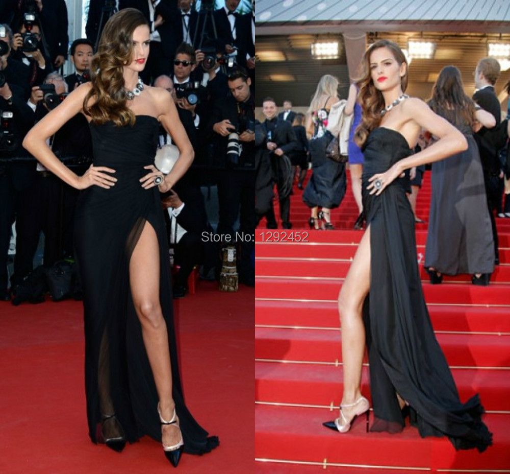 New Style Izabel Goulart Black Strapless High Slit Celebrity ...