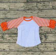 Cute Baby Boutique Wholesale Girl Shirts Ruffle Raglan Shirt Cheap Wholesale Orange Icing Sleeve Shirt