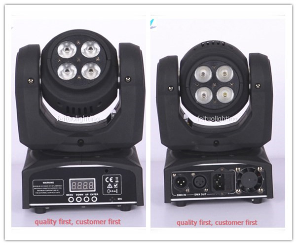 free shipping 4Xlot Double Sides Mini Beam 8X10W Moving Head Light RGBW 4IN1 Wash Luces Stage DJ Disco Party Sound Active Lights