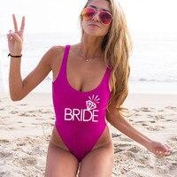BRIDE Swimsuit Diamond White Suit Gold Letter One Piece Swimsuit Bachelor Party Bride Beach Wear High