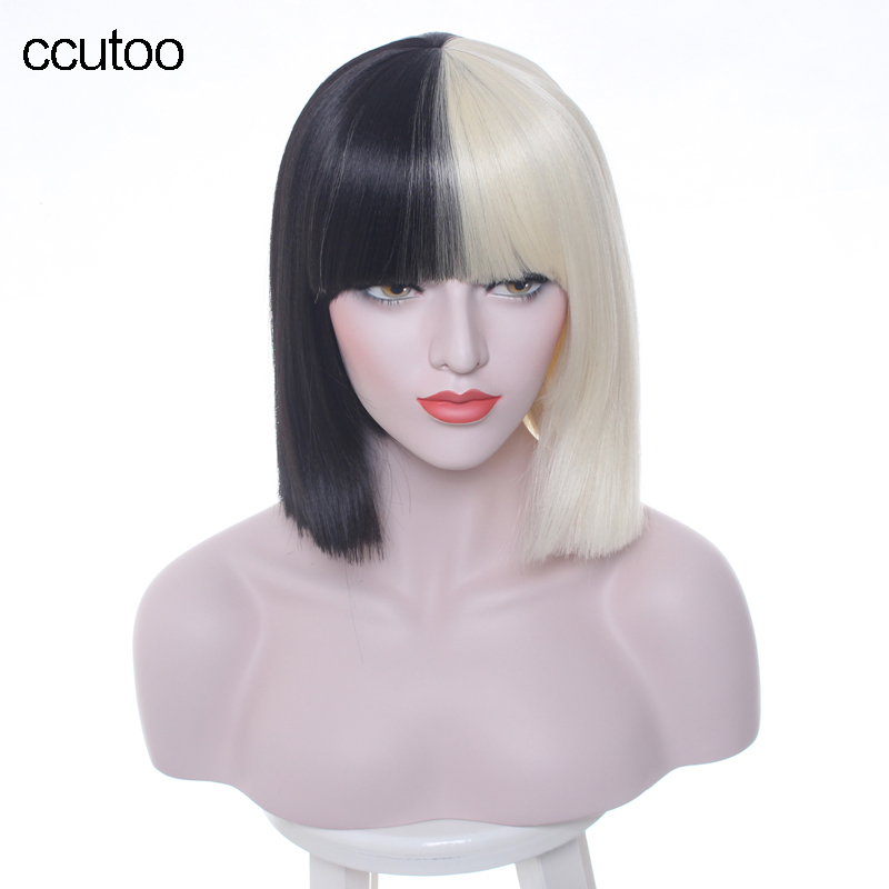 ccutoo 38cm Female's Peluca Synthetic Hair Half Black and Blonde Short Straight Flat Bangs Heat Resistance Cosplay Full Wigs