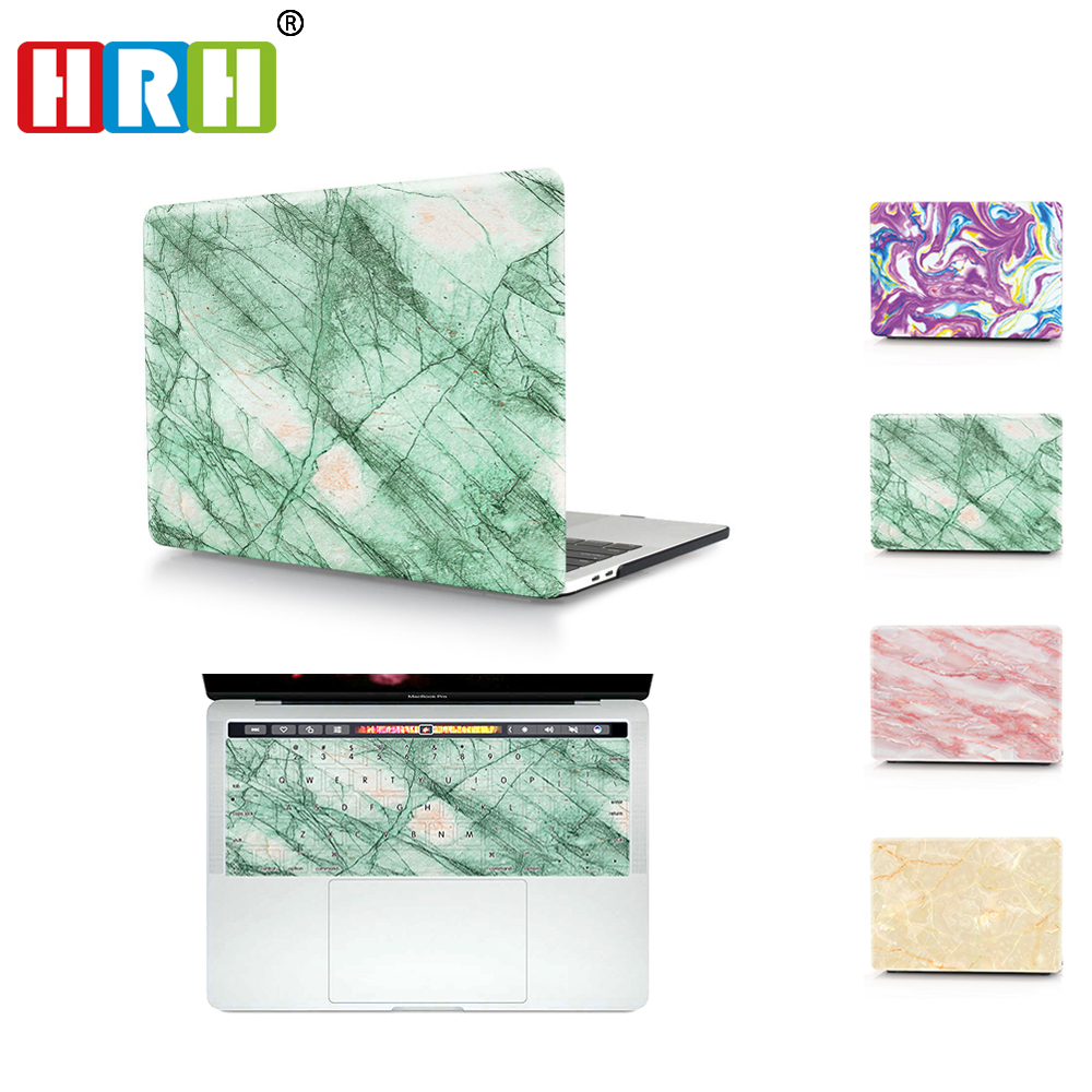 HRH 2 In1 Marble Laptop Body Shell Protective Hard Case Matching US TPU Keyboard Cover for MacBook Touch Bar 2016 Release