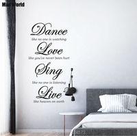 Mundo loco-Danza del Amor de Cantar En Vivo Cita Arte de La Pared Pegatinas Pegatinas de Pared En Casa Decoración Extraíble Pared Decoración de la Habitación pegatinas