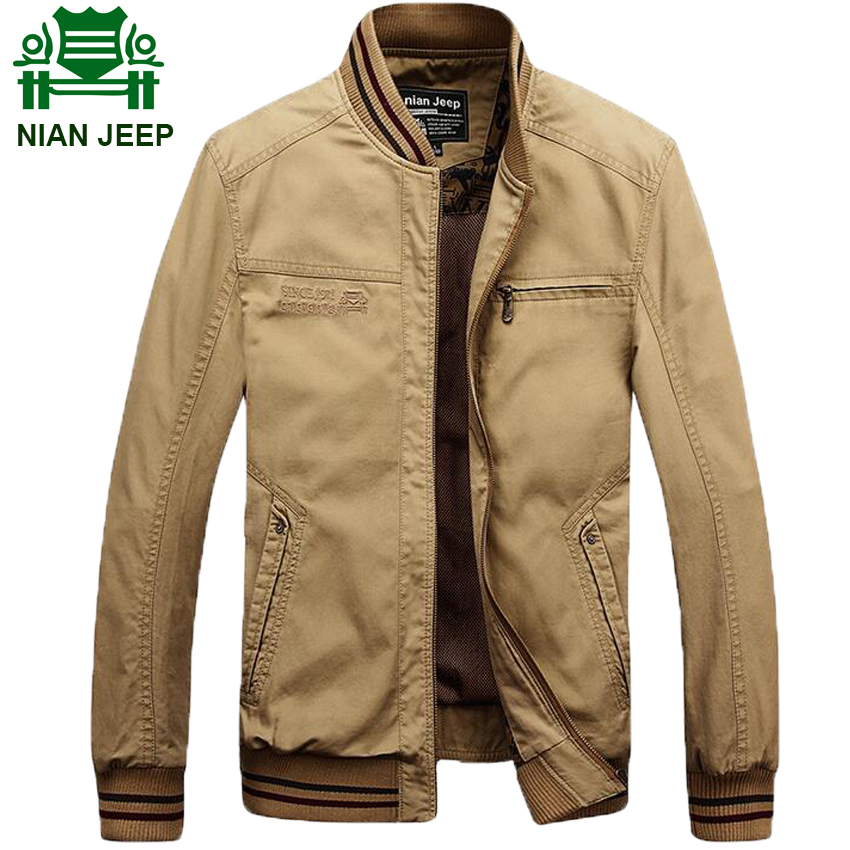 NIAN JEEP Brand Clothing Military Jacket for Men Stand Collar Army Coat Solid Color Plus Size 4XL 145