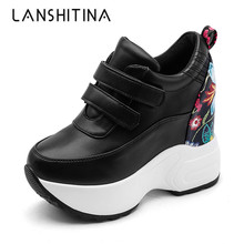2018 Autumn Ankle Boots Womens High Platform Sneakers Height increasing Leather Shoes Thick Sole Flower Lady Casual Wedge