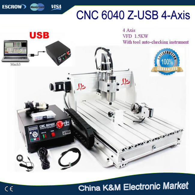купить Russian duty free CNC 6040 Z-USB 4 axis with USB port woodworking metal engraving machine PCB drilling router Mach3 auto control дешево