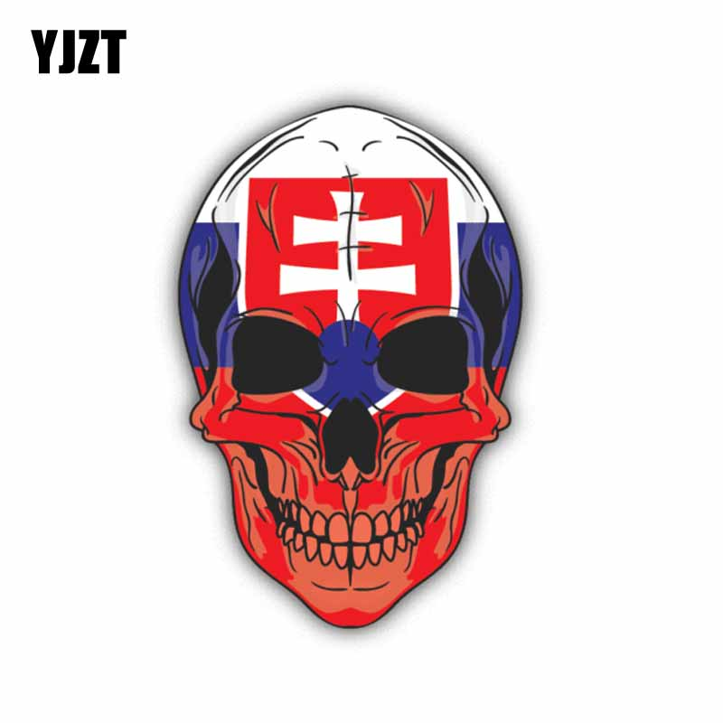 YJZT 8.5CM*13CM Slovakia Skull Flag Car Sticker Motorcycle Accessories Decal 6-1355