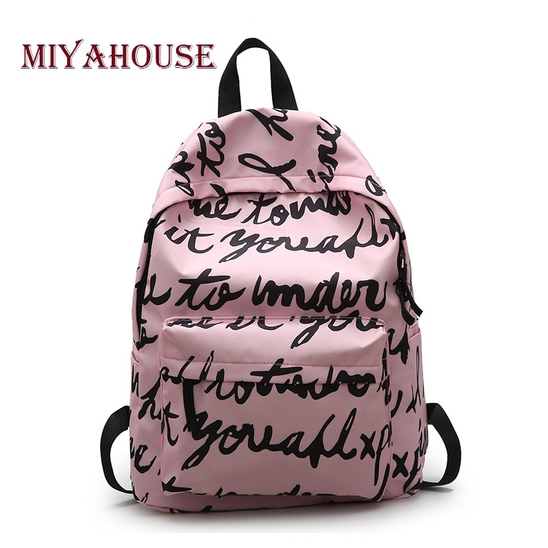 acbbaa7efc0d Miyahouse Fashion Canvas School Backpack For Teenage Girls Letter Printed  Bag Female Large Capacity Printing Rucksack Travel