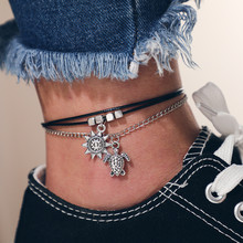 Vintage Multilayer Chic Turtle Sun Anklets For Women Black Rope Silver Chain Bracelets Girl Party Gift