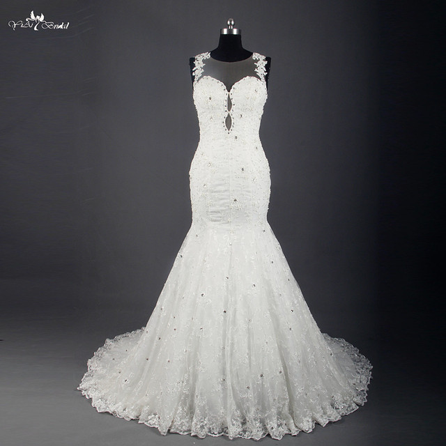 RSW767 Luxury Rhinestone Crystal Sequin Vintage Lace Sexy Backless Mermaid Wedding Dress 2015 Turkey