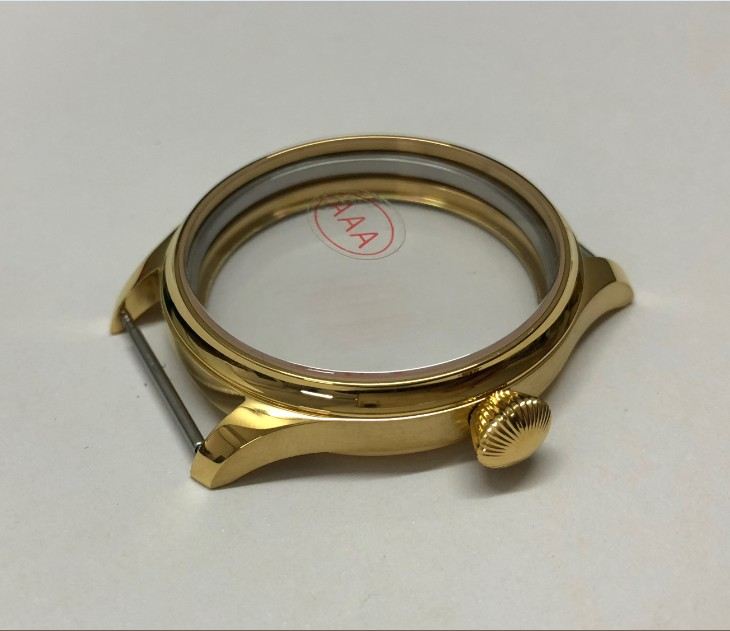 Sapphire Crystal 44mm High quality 316L Stainless steel Plating 18K gold watch cases fit ETA6497/6498 Hand Wind movement 019A