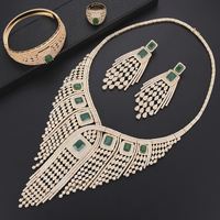Women Luxury Tassel Bridal african beads jewelry set Cubic Zirconia Nigerian Necklace Earrings Bracelet Ring wedding jewelry