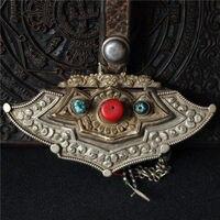 christmas Rare Old Tibet Antique Cowhide Inlay Bronze Gem Tibetan Purse Wallet Boxs new Year