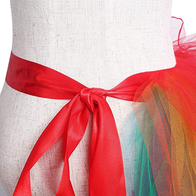 Women Girls Dancing Tutu Layered Organza Lace Rainbow Bustle Skirt Ruffle Tiered Clubwear