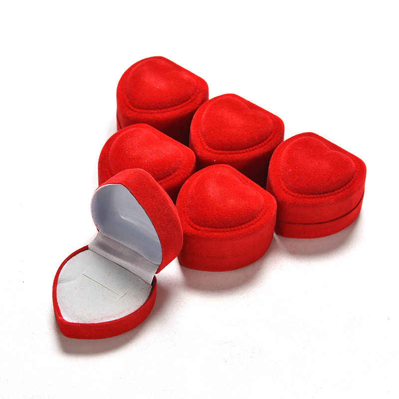 1PC Foldable Fine Perhiasan Kotak Tampilan Penyimpanan Kotak Merah Pertunangan Jantung Cincin Beludru Kotak Organizer
