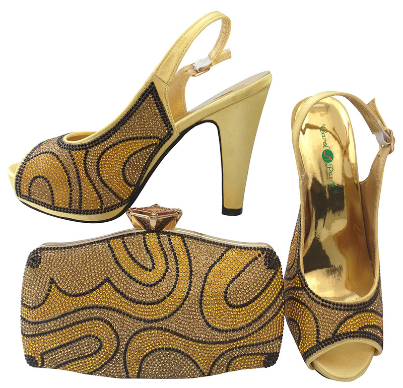 African Women Shoes and Bag Set Italian Design Shoes and Bag Set Decorated with Rhinestine Wedding Matching Shoe and Bag  BCH-28