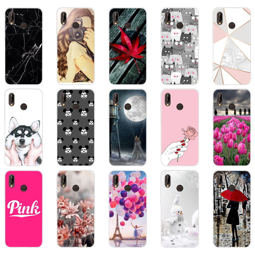 G Huawei P20 Lite Case 5.84inch Huawei P20 Lite Soft Rubber TPU Silicone Back Phone Case For Huawei P20 Lite Cover Bag Cases
