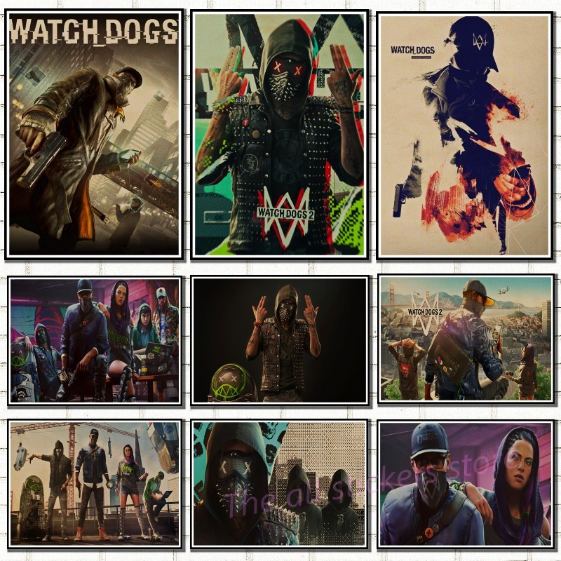 Watch Dogs game Home Furnishing decoration Kraft Game Poster Drawing core Wall stickers/5081