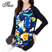 Plus Size XL 5XL Korean Style Woman Fashion Long Sleeve T Shirt Floral Print Design Lady