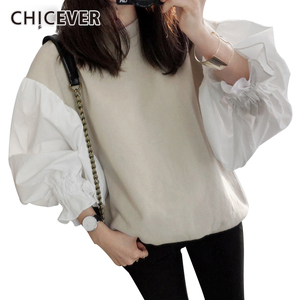 Image 2 - CHICEVER 2020 Spring Female Sweatshirt For Women Top Lantern Sleeve Pullovers Loose Plus Size Oversizes Sweatshirts Tops Clothes