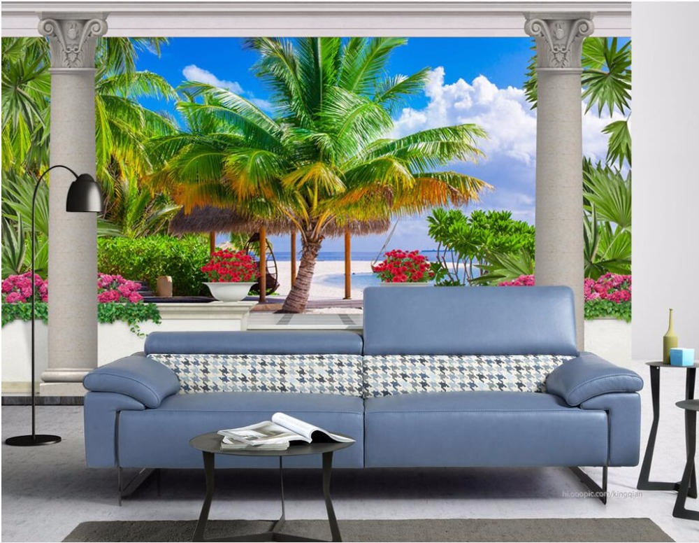 Custom photo 3d wallpaper Non-woven mural garden balcony coconut trees room painting 3d wall murals wallpaper for walls 3 d flame trees of thika