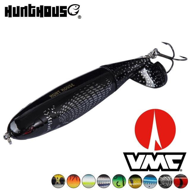 Hunthouse וופר plopper topwater דיג פיתוי רך מסתובב זנב 90mm 130mm ABS חומר VMC וו מים מתוקים לים דיג
