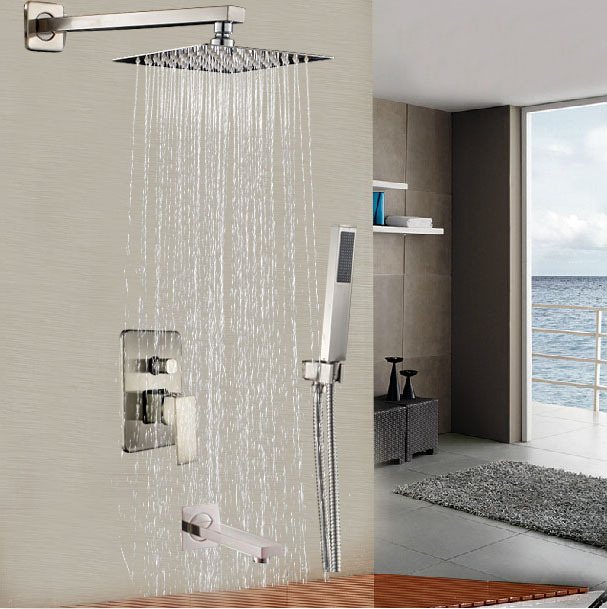 16 Ultrathin Shower Head Bathroom Shower Mixer Faucet Bath Shower Tap with Handheld Shower Brushed Nickel Finish sognare new wall mounted bathroom bath shower faucet with handheld shower head chrome finish shower faucet set mixer tap d5205