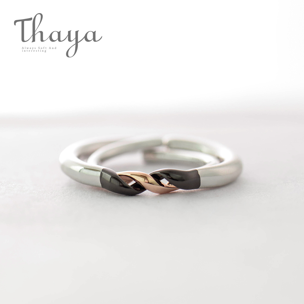 Thaya Winding Design Finger Ring S925 Silver Black And Rose Gold Simple Couple Interlocking Rings For Women Elegant Jewelry