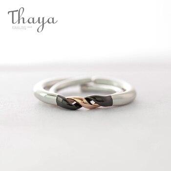 Thaya Winding Design Ring Finger s925 srebrny czarny i różowe złoto prosta para blokujące pierścienie dla kobiet elegancka biżuteria
